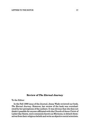 Primary view of object titled 'Letter to the Editor: Review of The Eternal Journey'.