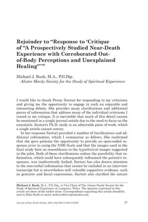 "Primary view of object titled 'Rejoinder to ""Response to 'Critique of ""A Prospectively Studied Near-Death Experience with Corroborated Out-of-Body Perceptions and Unexplained Healing""'""'."