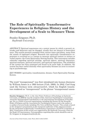 Primary view of object titled 'The Role of Spiritually Transformative Experiences in Religious History and the Development of a Scale to Measure Them'.