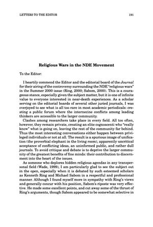 Primary view of object titled 'Letter to the Editor: Religious Wars in the NDE Movement'.