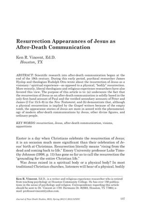 Primary view of object titled 'Resurrection Appearances of Jesus as After-Death Communication'.
