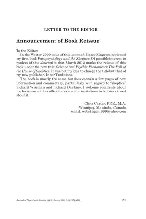 Primary view of object titled 'Letter to the Editor: Announcement of Book Reissue'.