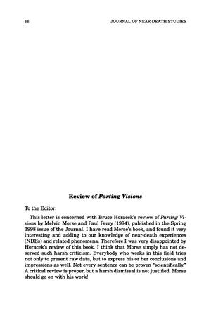 Primary view of object titled 'Letter to the Editor: Review of Parting Visions'.