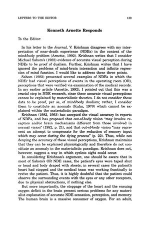 Primary view of object titled 'Letter to the Editor: Kenneth Arnette Responds'.
