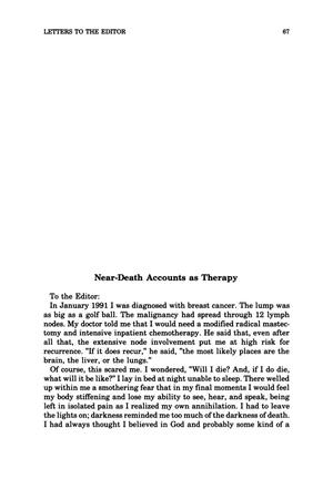 Primary view of object titled 'Letter to the Editor: Near-Death Accounts as Therapy'.