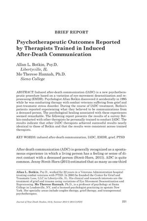 Primary view of object titled 'Brief Report: Psychotherapeutic Outcomes Reported by Therapists Trained in Induced After-Death Communication'.