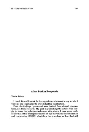 Primary view of object titled 'Letter to the Editor: Allan Botkin Responds'.