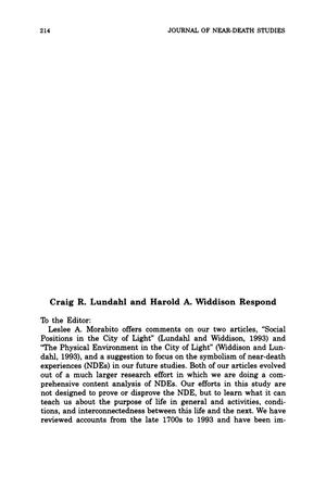 Primary view of object titled 'Letter to the Editor: Craig R. Lundahl and Harold A. Widdison Respond'.
