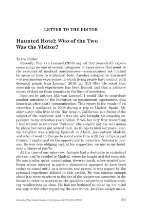 Primary view of object titled 'Letter to the Editor: Haunted Hotel: Who of the Two Was the Visitor?'.
