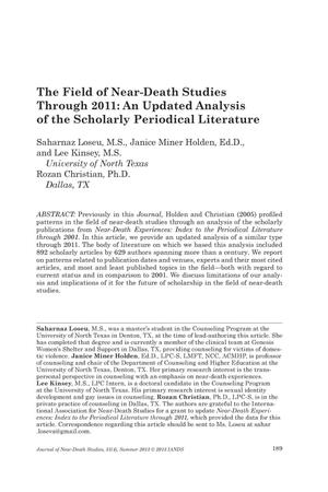 Primary view of object titled 'The Field of Near-Death Studies Through 2011: An Updated Analysis of the Scholarly Periodical Literature'.