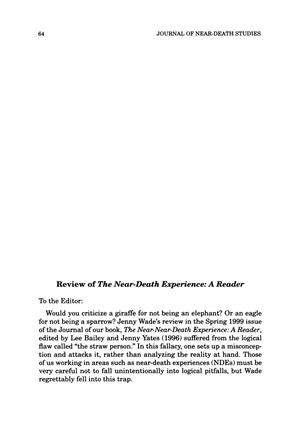 Primary view of object titled 'Letter to the Editor: review of The Near-Death Experience: A Reader'.