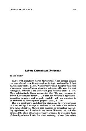 Primary view of object titled 'Letter to the Editor: Robert Kastenbaum Responds'.