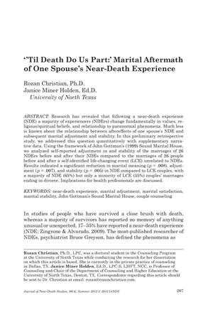 Primary view of object titled '''Til Death Do Us Part:' Marital Aftermath of One Spouse's Near-Death Experience'.