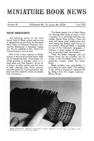 Primary view of object titled 'Miniature Book News # 28: 1972 June'.