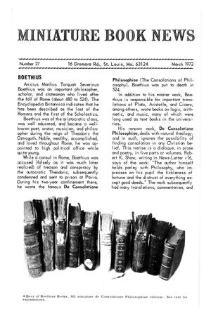 Primary view of object titled 'Miniature Book News # 27: 1972 March'.