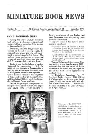 Primary view of object titled 'Miniature Book News # 26: 1971 December'.