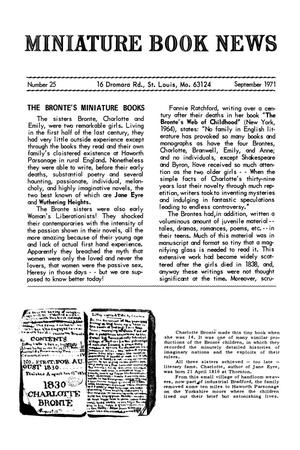 Primary view of object titled 'Miniature Book News # 25: 1971 September'.