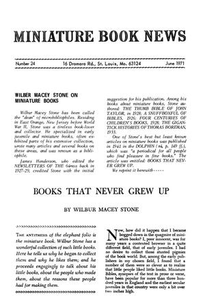 Primary view of object titled 'Miniature Book News # 24: 1971 June'.