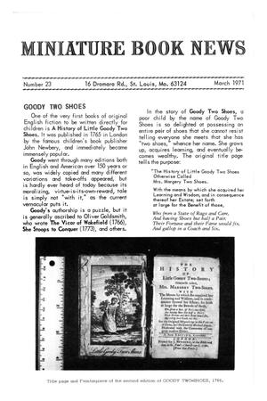 Primary view of object titled 'Miniature Book News # 23: 1971 March'.