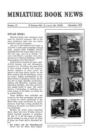 Primary view of object titled 'Miniature Book News # 21: September 1970'.