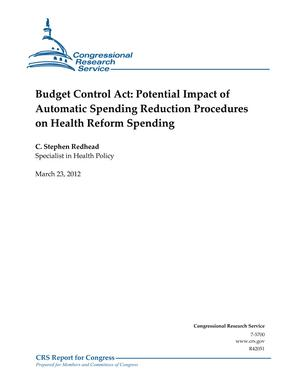 Budget Control Act: Potential Impact of Automatic Spending Reduction Procedures on Health Reform Spending