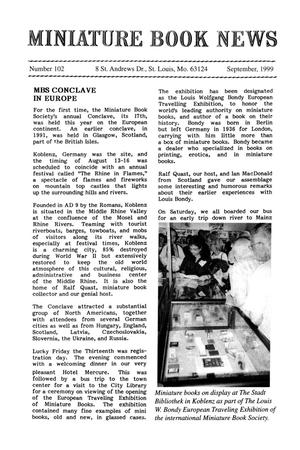 Primary view of object titled 'Miniature Book News #102: 1999 September'.