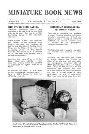 Primary view of object titled 'Miniature Book News #101: 1999 June'.