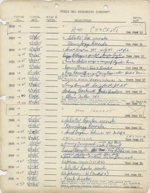 Primary view of object titled 'Music USA Recording Schedule, 1965-1977'.