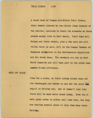 Primary view of object titled '[News Script: Trailriders]'.