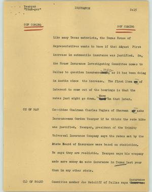 Primary view of object titled '[News Script: Insurance]'.