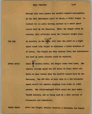 Primary view of object titled '[News Script: Bell copters]'.