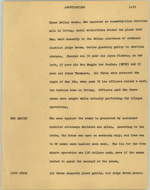 Primary view of object titled '[News Script: Abortionists]'.