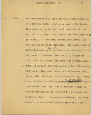 Primary view of object titled '[News Script: Church hijackers]'.