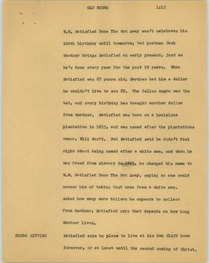 Primary view of object titled '[News Script: Old negro]'.