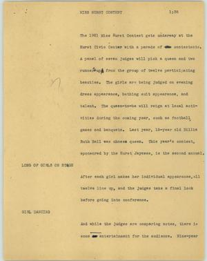 Primary view of object titled '[News Script: Miss Hurst contest]'.