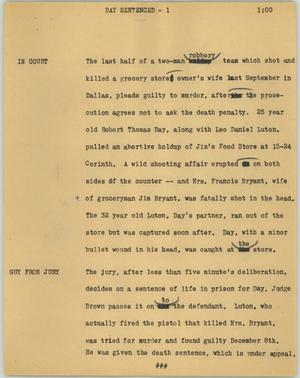 Primary view of object titled '[News Script: Day sentenced]'.