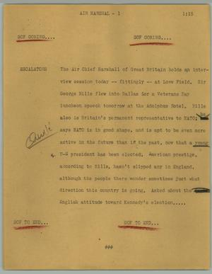 Primary view of object titled '[News Script: Air Marshal]'.
