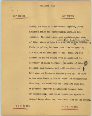 Primary view of object titled '[News Script: Holleman]'.