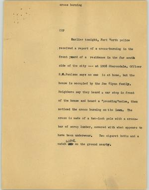 Primary view of object titled '[News Script: Cross burning]'.