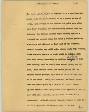 Primary view of object titled '[News Script: Gonzales & filibuster]'.