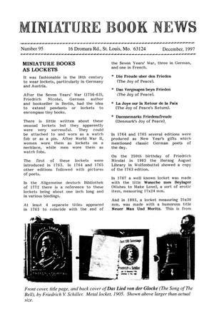 Primary view of object titled 'Miniature Book News # 95: 1997 December'.