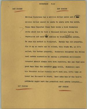 Primary view of object titled '[News Script: Nickerson]'.