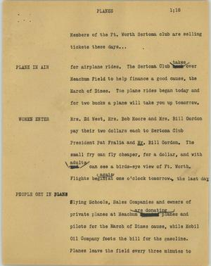 Primary view of object titled '[News Script: Planes]'.