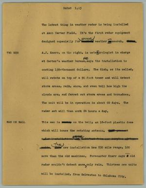 Primary view of object titled '[News Script: Radar]'.