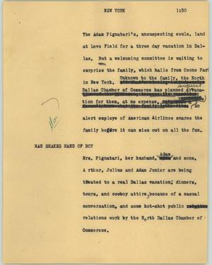 Primary view of object titled '[News Script: New York]'.