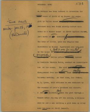 Primary view of object titled '[News Script: Murdered girl]'.