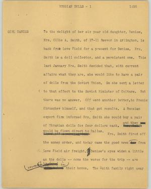 Primary view of object titled '[News Script: Russian dolls]'.