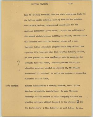 Primary view of object titled '[News Script: Driving teachers]'.
