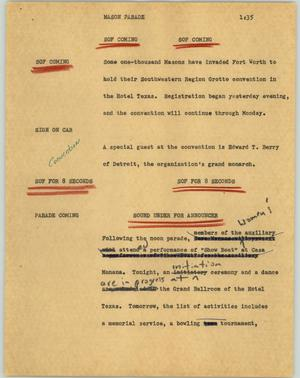 Primary view of object titled '[News Script: Mason parade]'.