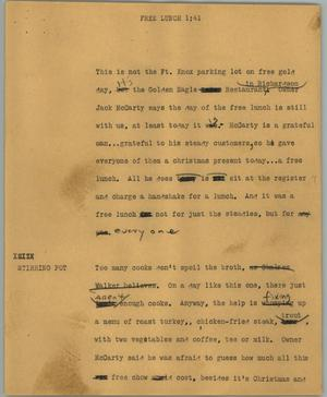 Primary view of object titled '[News Script: Free lunch]'.